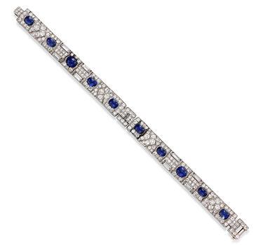 An Art Deco Sapphire And Diamond Bracelet, By Cartier, Circa 1925