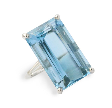 An Aquamarine and Diamond Ring, by Cartier, circa 1950