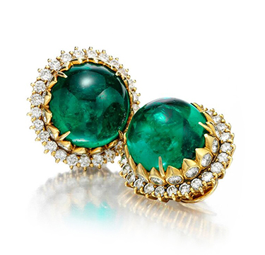 An Important Pair of Colombian Emerald and Diamond Ear Clips