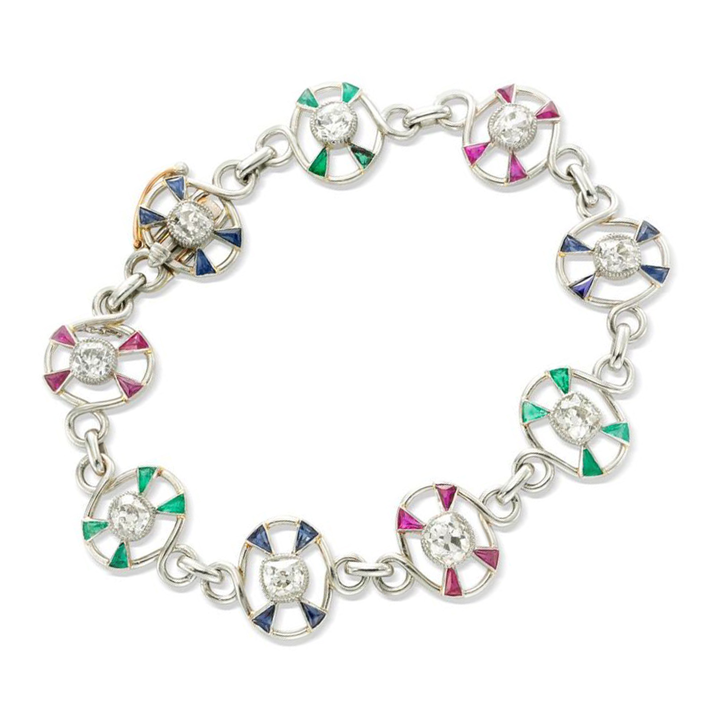 An Early 20th Century Ruby, Emerald, Sapphire and Diamond Bracelet