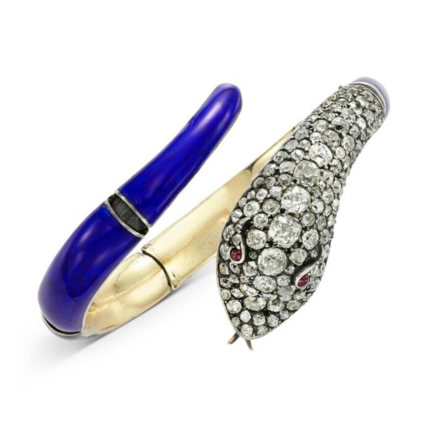 A 19th Century Diamond, Ruby and Enamel Snake Bracelet