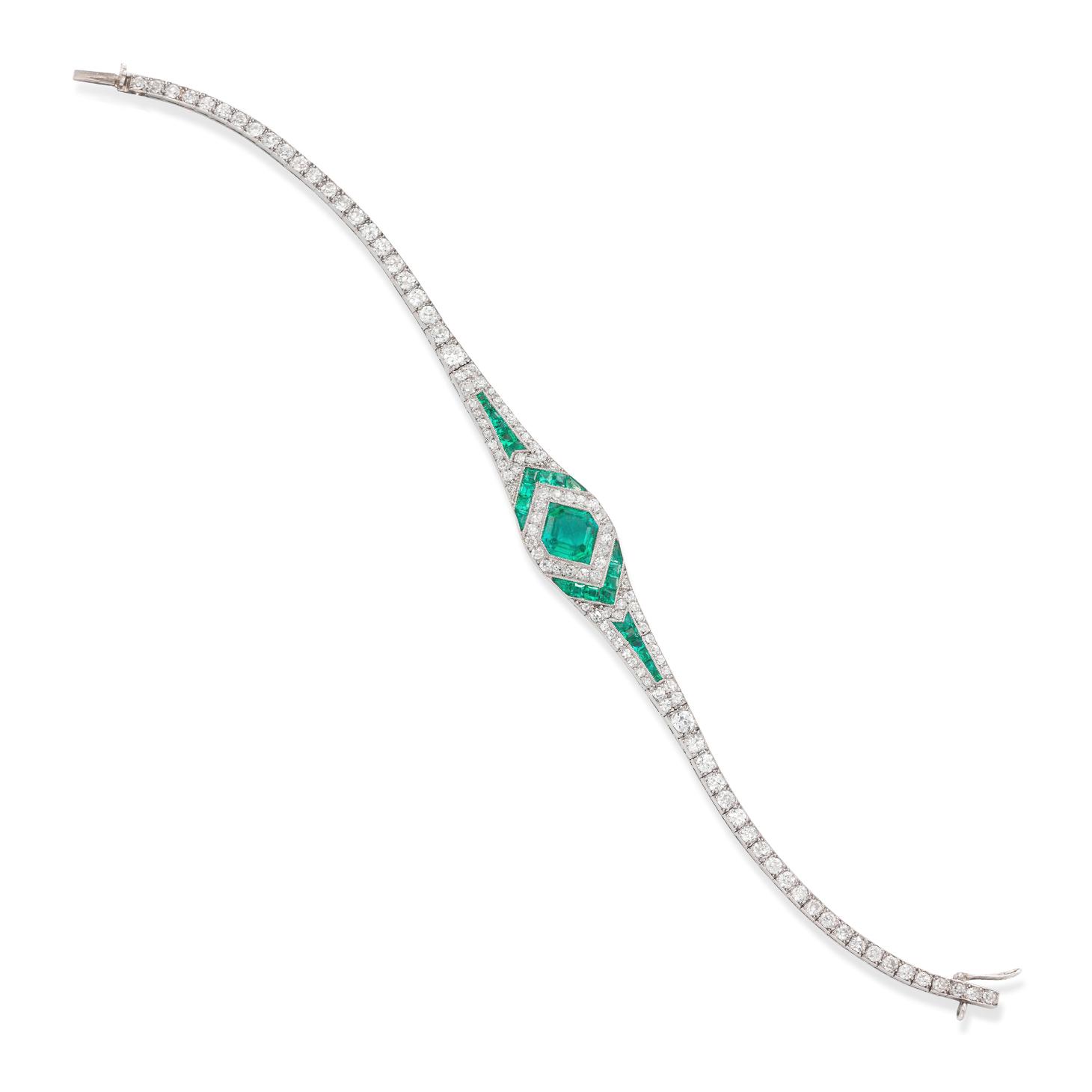An Art Deco Emerald and Diamond Bracelet, by Georges Thibault, circa 1925