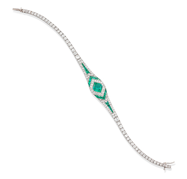 An Art Deco Emerald and Diamond Bracelet, by Georges Thibault, circa 1925