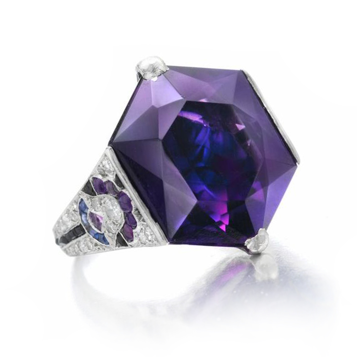 An Egyptian Revival Amethyst, Sapphire and Onyx Ring, circa 1925, by Mauboussin