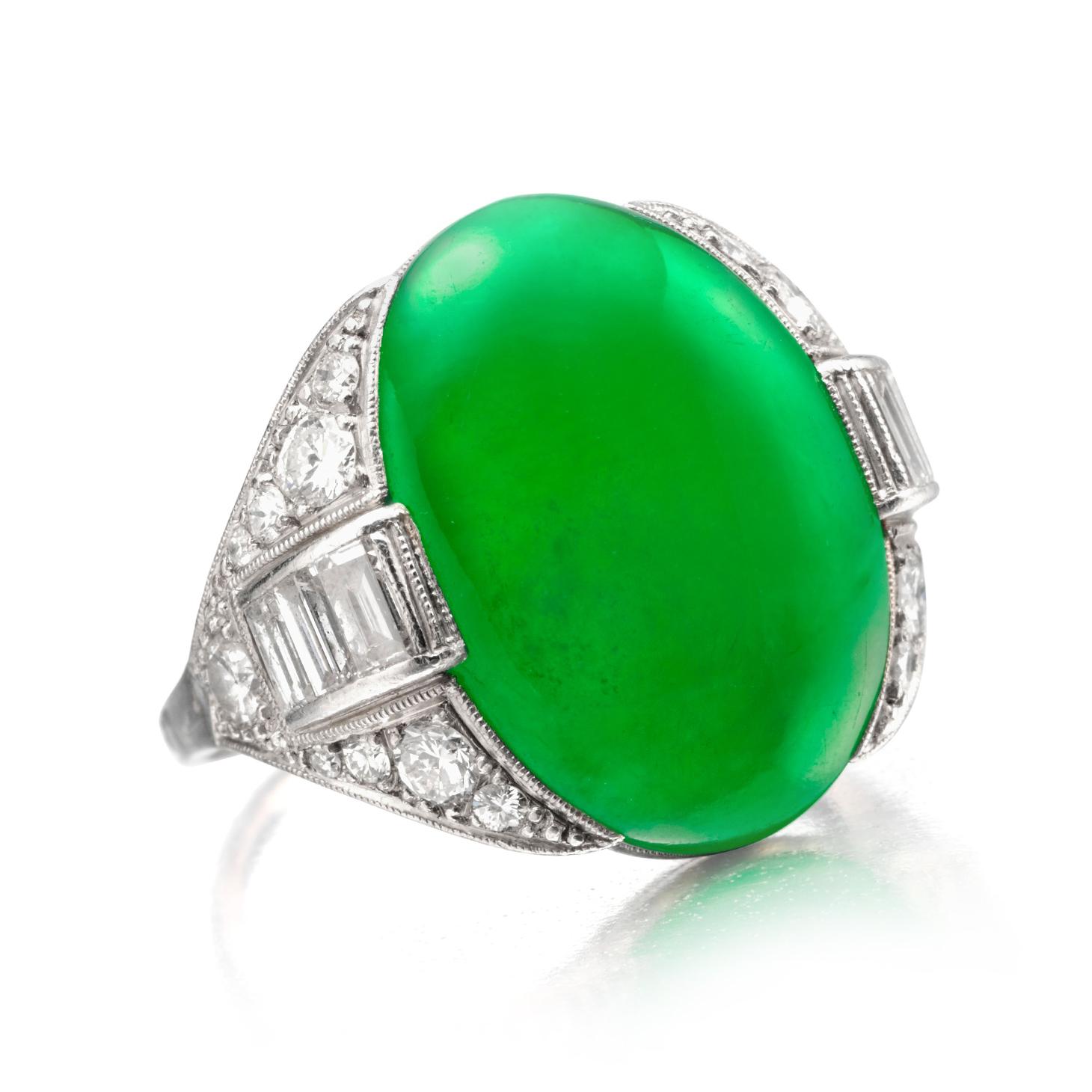 An Art Deco Burmese Jade and Diamond Ring, circa 1925