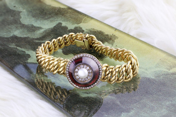 Pearl, Diamond And Glass Chain Bracelet