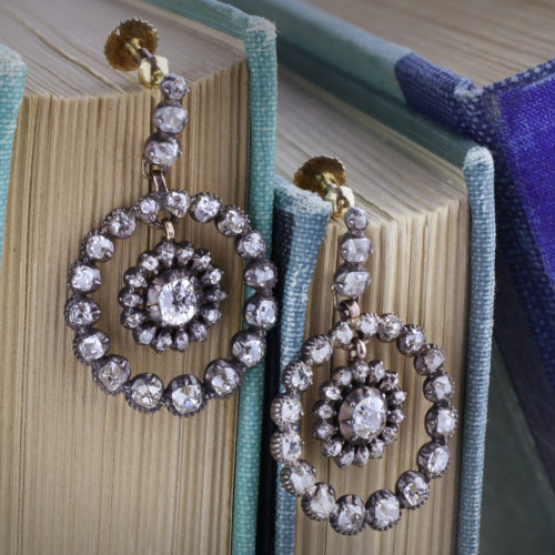 A Pair of Antique Diamond Ear Pendants