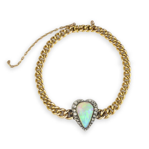 Opal and Diamond Heart Bracelet