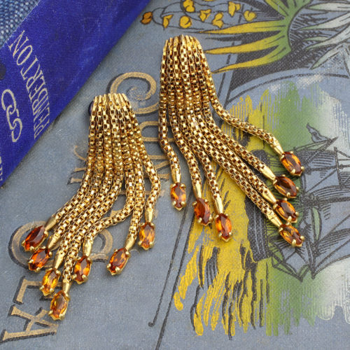 Gold and Citrine Fringe Ear Clips