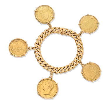 A Gold Coin Charm Bracelet, by Cartier, circa 1960