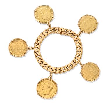 A Gold Coin Charm Bracelet, by Cartier, circa 1960