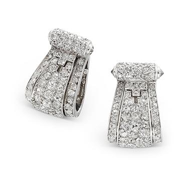 A Pair of Art Deco Diamond Clips, by Cartier, circa 1925