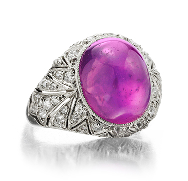 An Art Deco Pink Star Sapphire and Diamond Ring, by Cartier, circa 1925