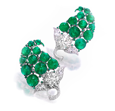 A Pair of Cabochon Emerald and Diamond Paisley Ear Clips, by BHAGAT