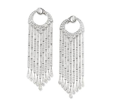 A Pair of Diamond Chandelier Ear Pendants, by BHAGAT