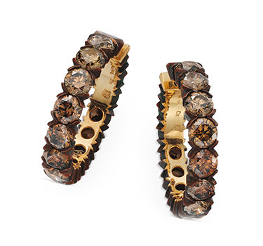 A Pair Of Brown Diamond Hoop Earrings, By Hemmerle