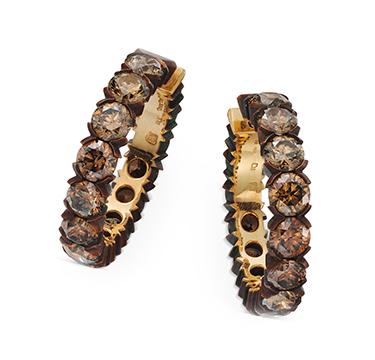A Pair of Brown Diamond Hoop Earrings, by Hemmerle