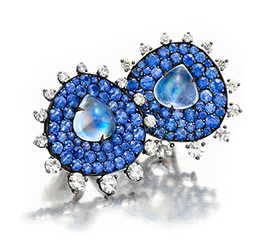 A Pair of Sapphire, Moonstone and Diamond Ear Clips, by JAR