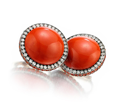 A Pair of Coral, Sapphire and Diamond Ear Clips, by JAR