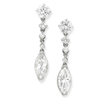 A Pair of Diamond Ear Pendants, set with marquise-cut diamond drops