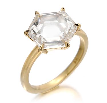 A Hexagonal-cut Diamond Ring, weighing 3.51 carats