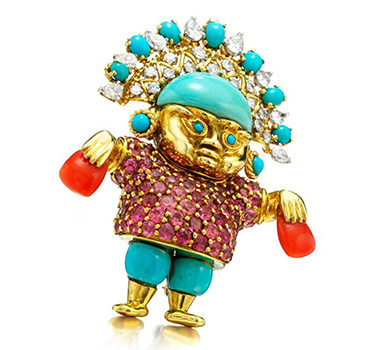 A Multi-gem And Diamond 'Pre-columbian' Brooch, By Donald Claflin For Tiffany & Co.