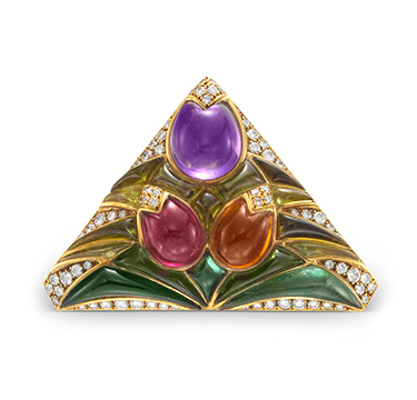 A Multi-gem and Diamond Flower Brooch, by Bulgari, circa 1980