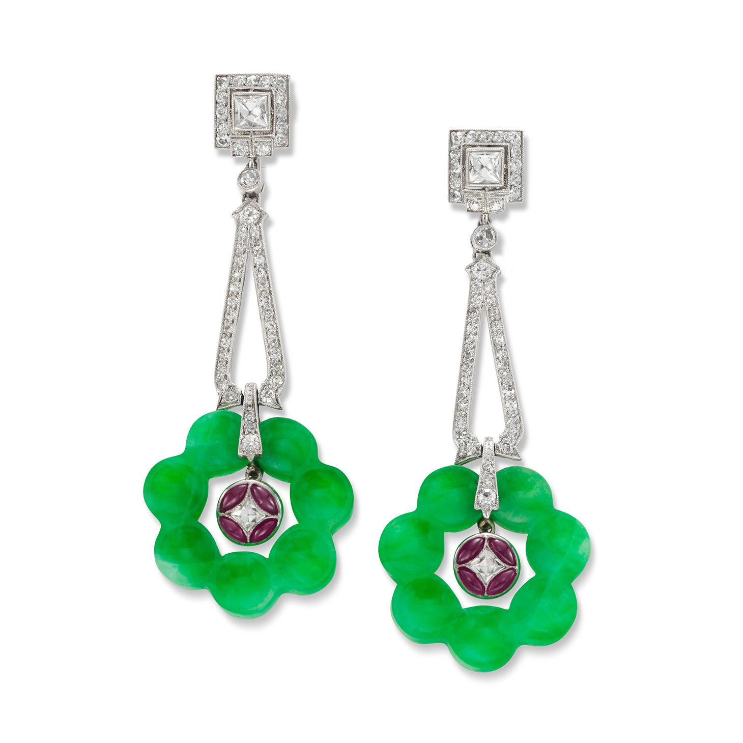 A Pair of Jade, Ruby and Diamond Ear Pendants, by Tiffany & Co., circa 1930