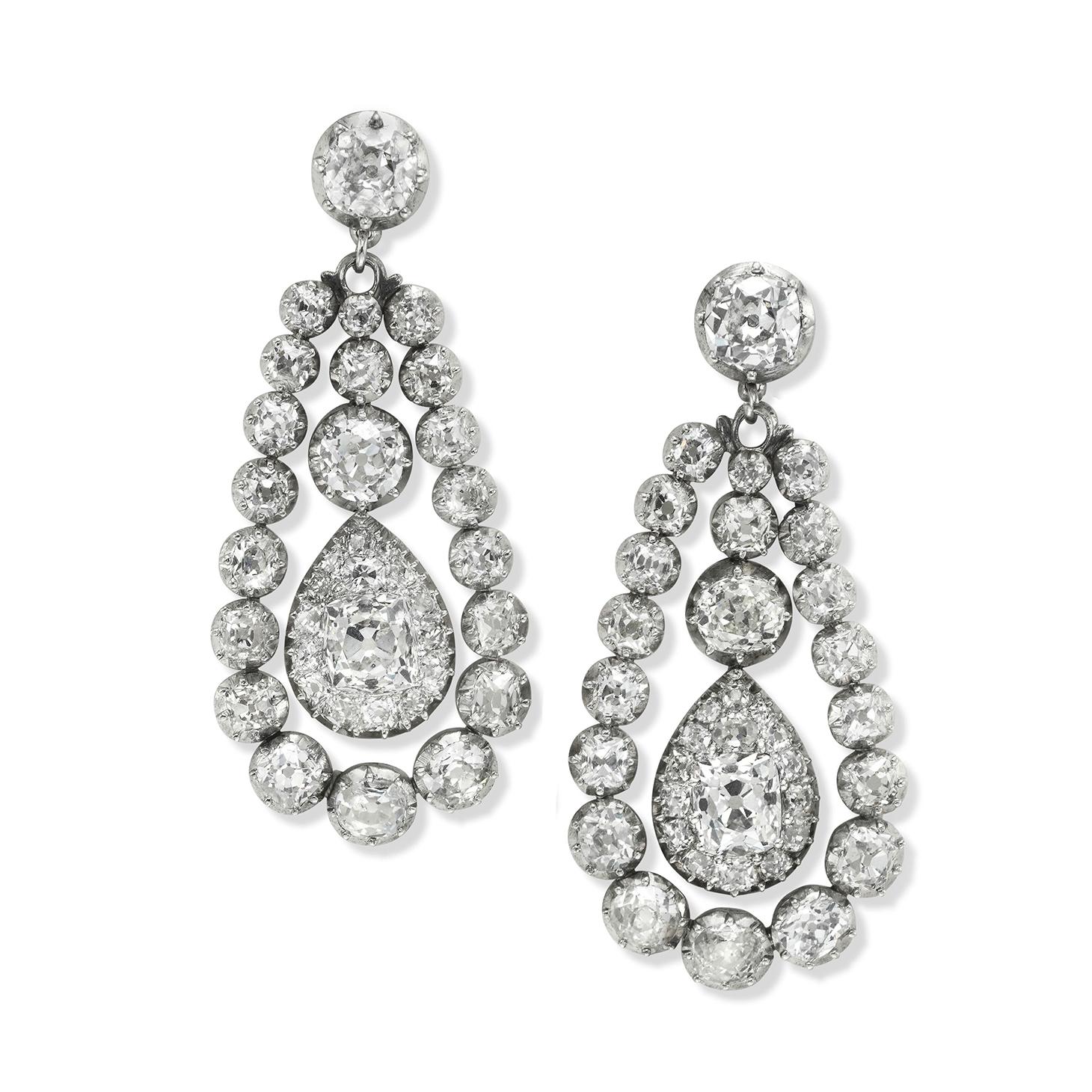 A Pair of Antique Diamond Ear Pendants, circa 1890