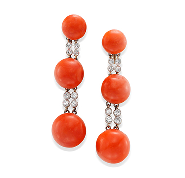 A Pair of Coral and Diamond Ear Pendants, by Black, Starr & Frost