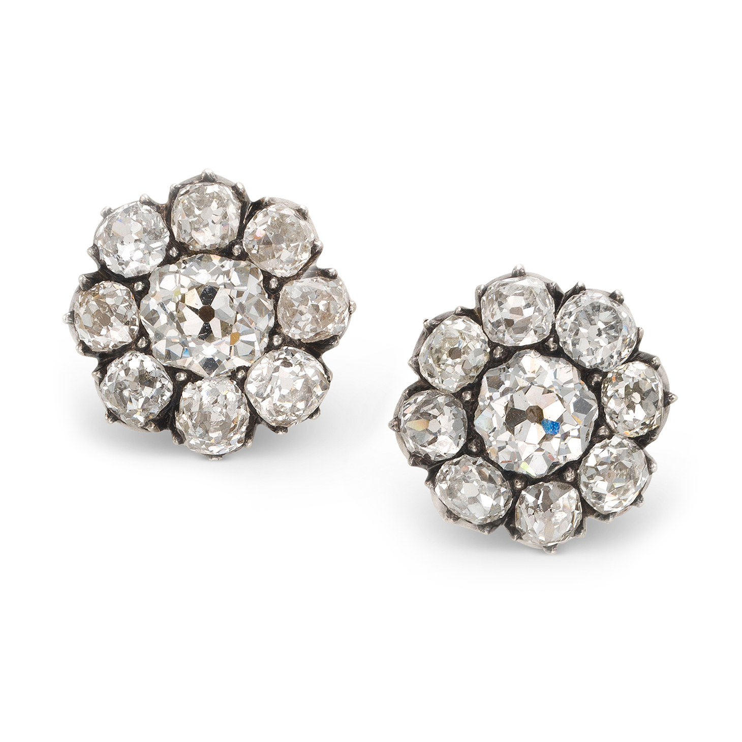 An Antique Pair of Old European-cut Diamond Cluster Earrings, circa 1890