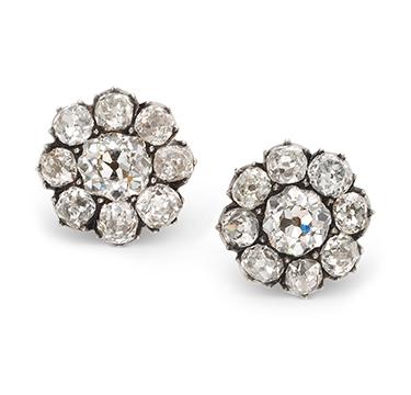 An Antique Pair of Old European-cut Diamond Cluster Earrings, circa 1890