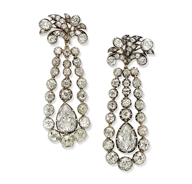 A Pair of Old European-cut Diamond Ear Pendants
