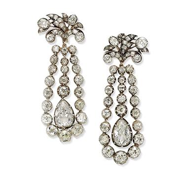 A Pair of Old European-cut Diamond Ear Pendants