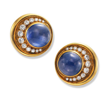 A Pair Of Cabochon Sapphire And Diamond Ear Clips, By Bulgari, Circa 1980