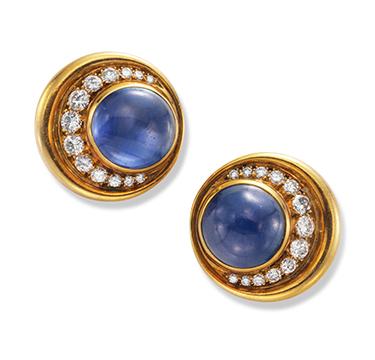 A Pair of Cabochon Sapphire and Diamond Ear Clips, by Bulgari, circa 1980