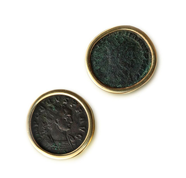 A Pair of Ancient Coin and Gold 'Monete' Ear Clips, by Bulgari, circa 1980