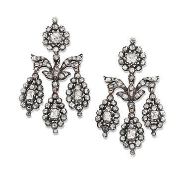 A Pair of Old Mine-cut Diamond Girandole Ear Pendants, circa 1850
