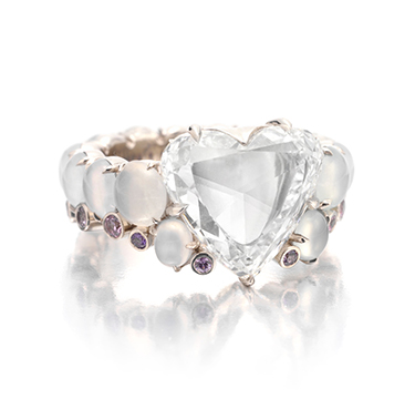 A Heart Shaped Portrait Diamond Ring, set with moonstones and pink diamonds, by SABBA