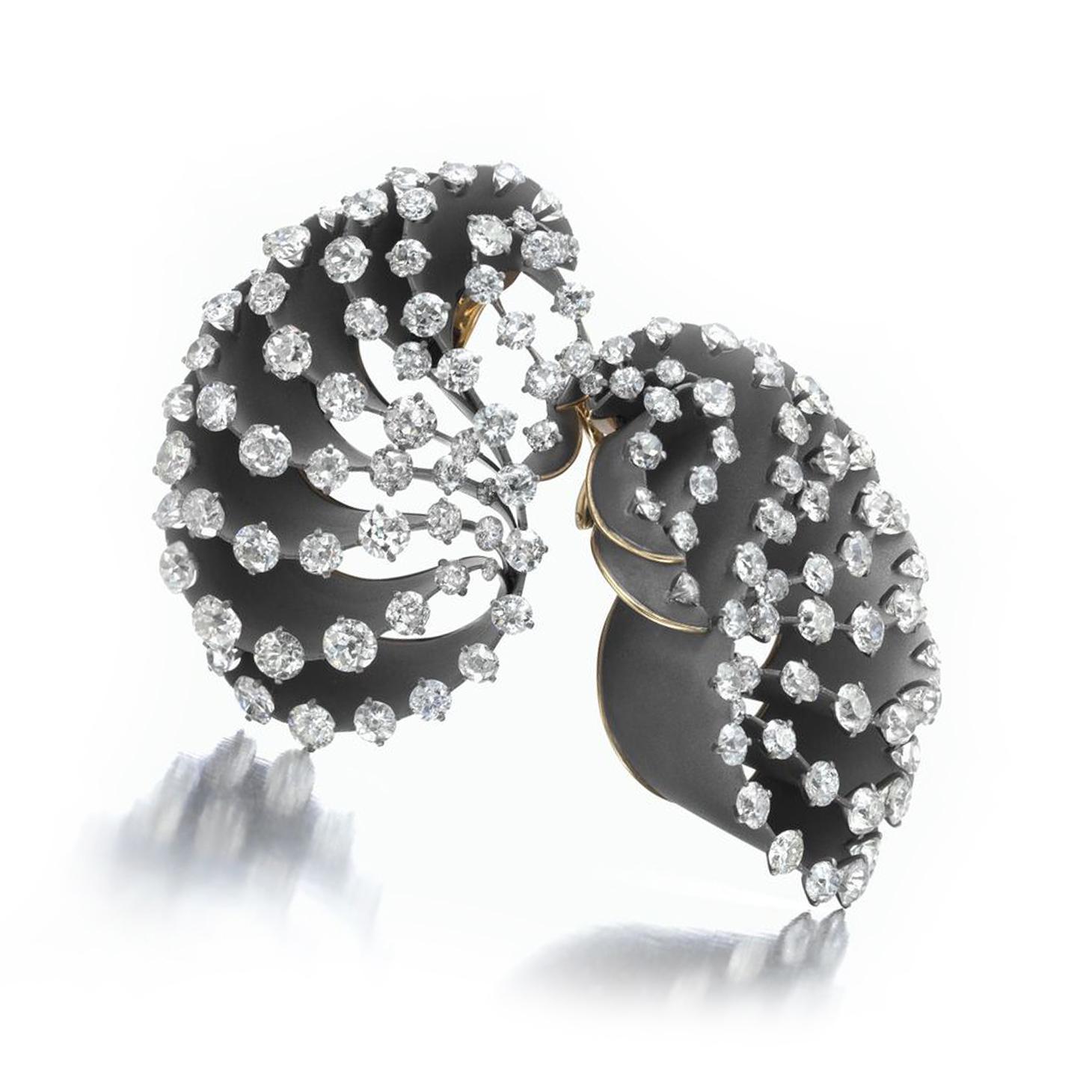 A Pair of Titanium and Diamond Ear Clips, by SABBA
