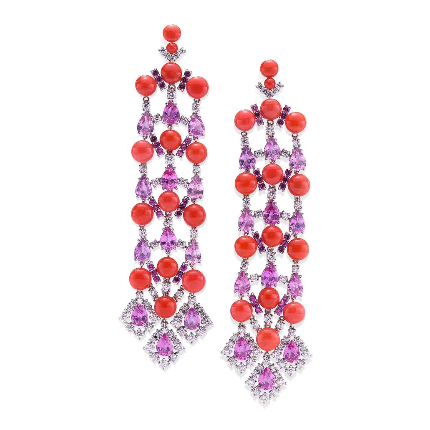 A Pair of Coral, Pink Sapphire and Diamond Ear Pendants, by SABBA