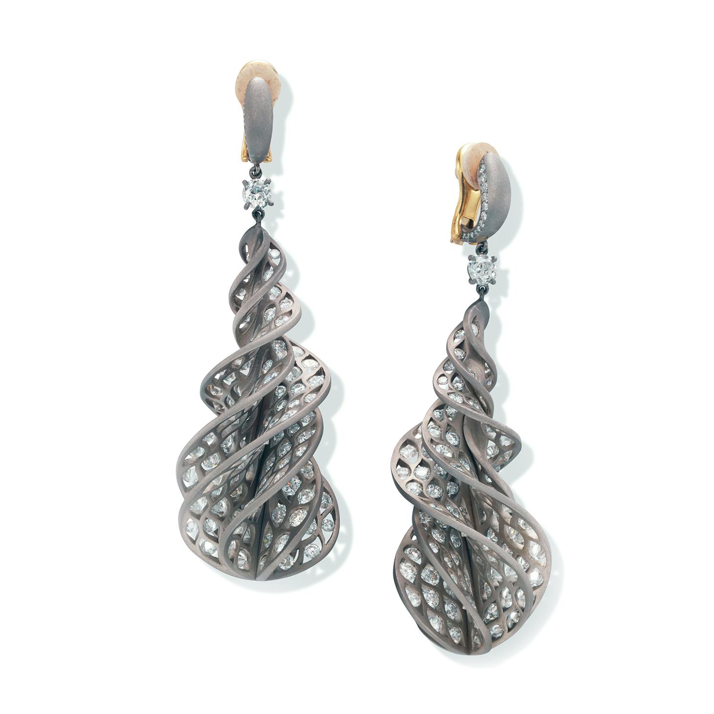 A Pair of Diamond and Titanium 'Twist' Ear Pendants, by SABBA