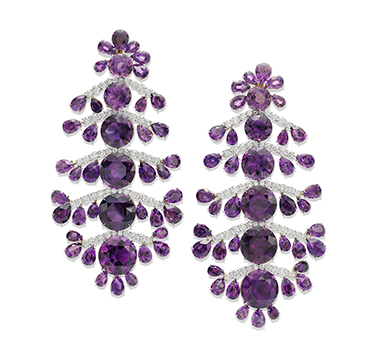 A Pair of Amethyst and Diamond Ear Pendants, by SABBA