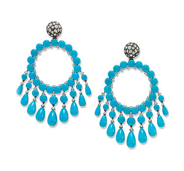 A Pair Of Turquoise And Diamond Ear Pendants, By SABBA