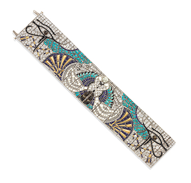 An Important Egyptian Revival Multi-gem and Diamond Bracelet, by Lacloche Freres