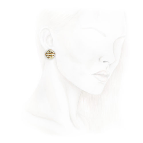 Cartier Pearl and Gold Ear Clips