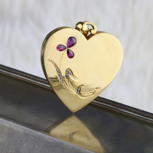 Ruby and Diamond Set Gold Heart Shaped Locket Pendant