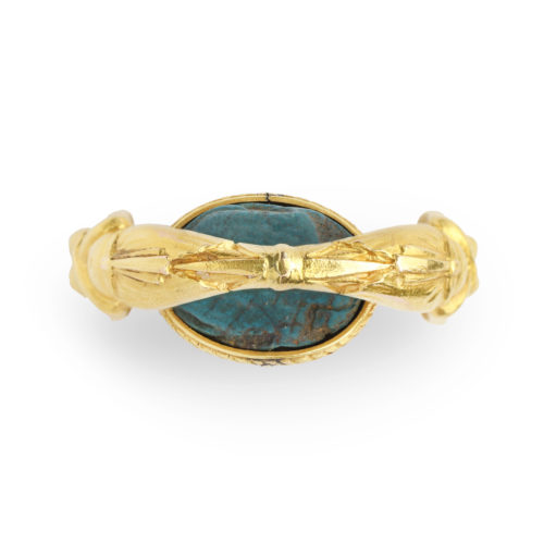 An Egyptian Revival Faience and Gold Ring