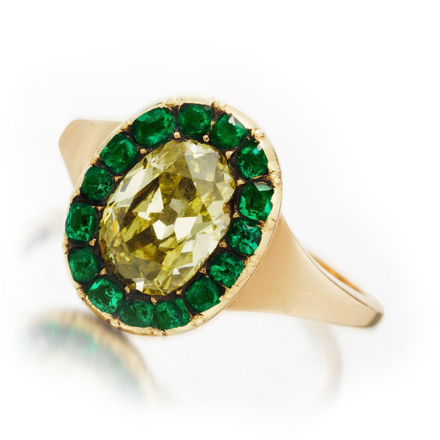 A Georgian Colored Diamond and Emerald Ring, circa 1800