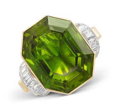 A Retro Hexagonal cut Peridot and Diamond Ring, weighing 50.00 carats